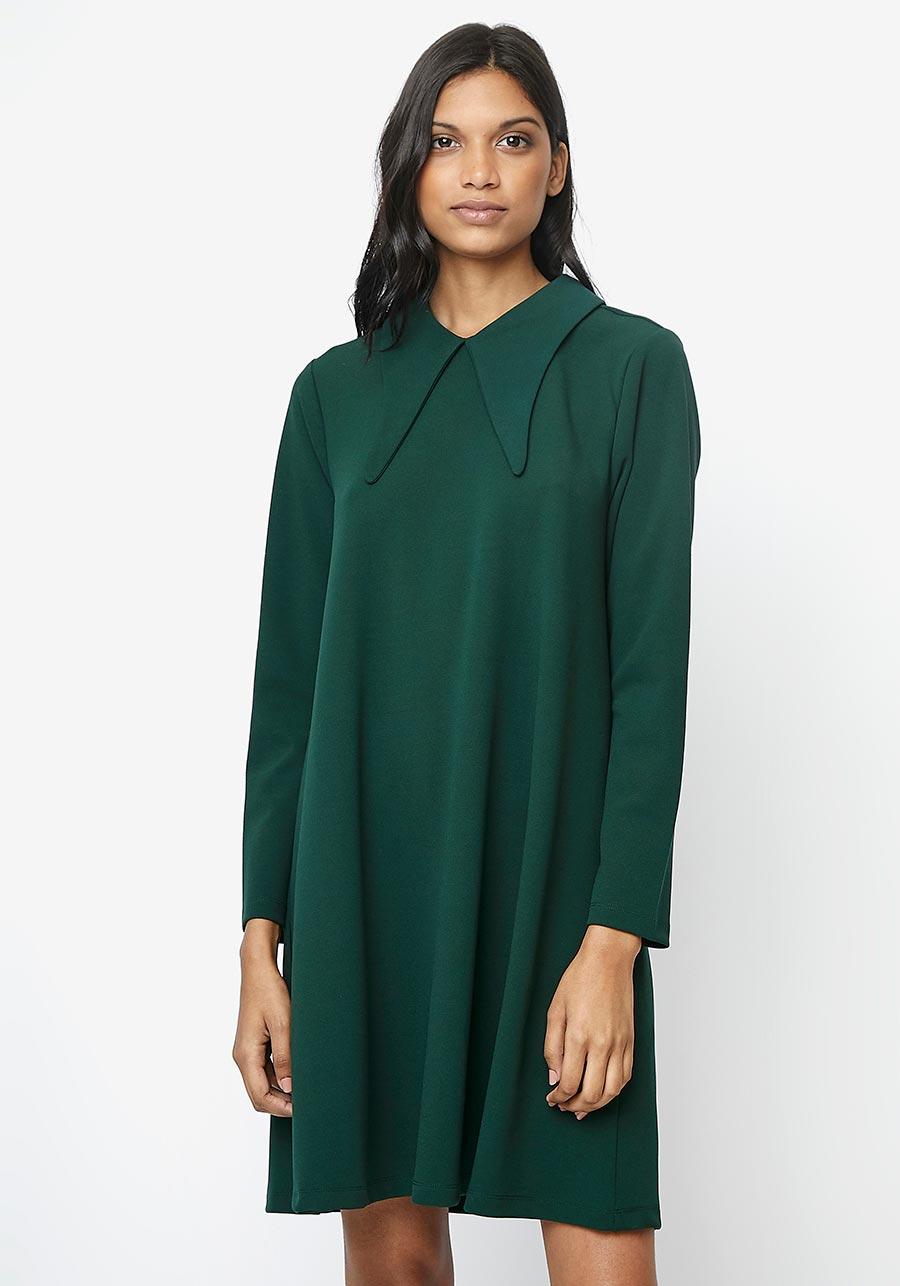 Vestido evasé verde
